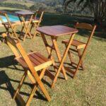 Cadeira alta de madeira modelo bistro